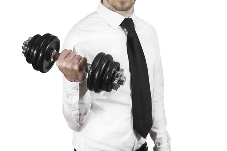 businessman lifting dumbbell weightlifting stress workout photo