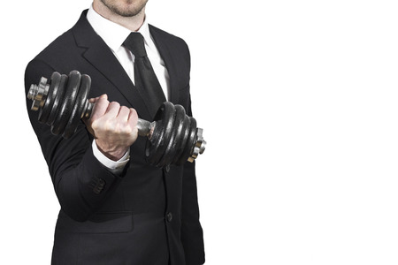 businessman lifting dumbbell weightlifting stress workout Stock Photo