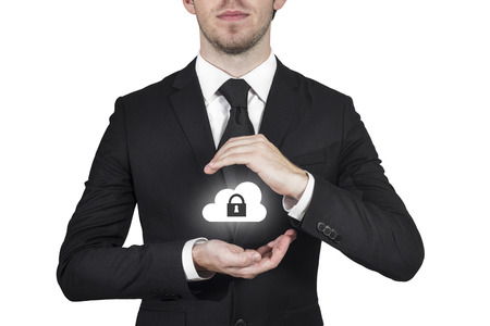 privat: businessman protect cloud lock symbol with hands