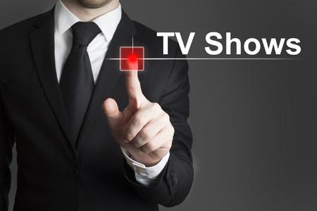 businessman pushing touchscreen button video recording light  photo