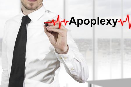 doctor with necktie drawing red heartbeatline apoplexy Stock Photo