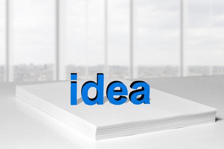 stack of white paper idea 3d  logo photo