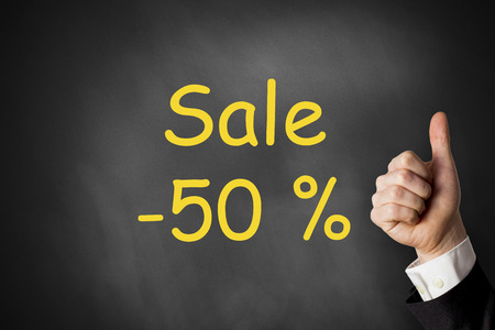 thumbs up sale fifty percent off chalkboard photo