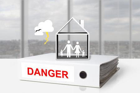 white office binder thunderstorm danger family house