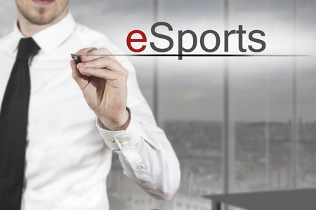 businessman necktie writing esports in the air office Banque d'images