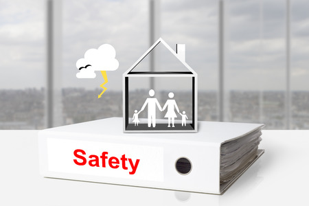 white office binder house family thunderstorm safety