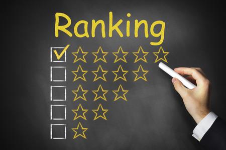 hand writing on black chalkboard ranking golden rating stars Standard-Bild