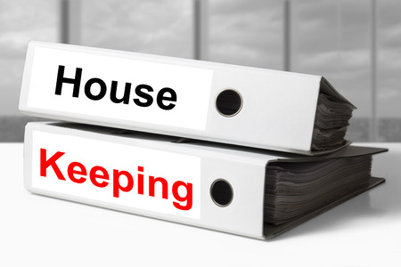 keeping: stack of white office binders house keeping Stock Photo