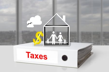 white office binder taxes house family dollar symbol photo