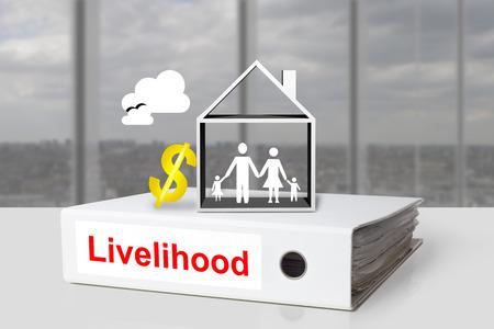 livelihood: white office binder livelihood family home golden dollar sign