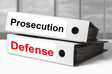 prosecution: stack of white office binders prosecution defense Stock Photo