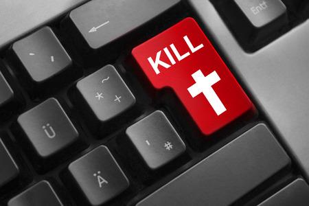 dark grey keyboard red enter button digital war kill cross photo