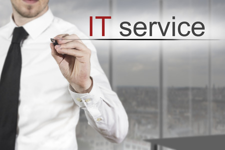 web service: businessman expert in office writing it service in the air