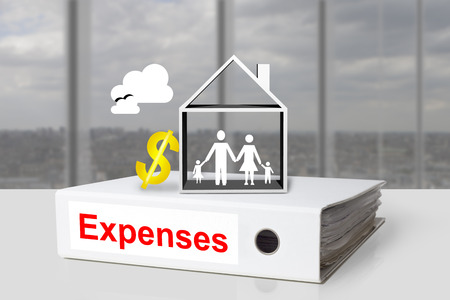 installment: white office binder expenses family house cost of living dollar symbol Stock Photo