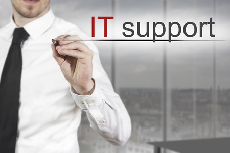 businessman expert in office writing it support in the air