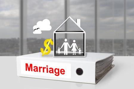 white office binder family house marriage dollar symbol photo