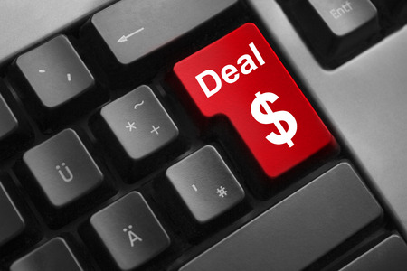 dark grey keyboard red button deal dollar symbol photo