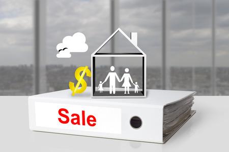 white office binder sale family house dollar symbol photo