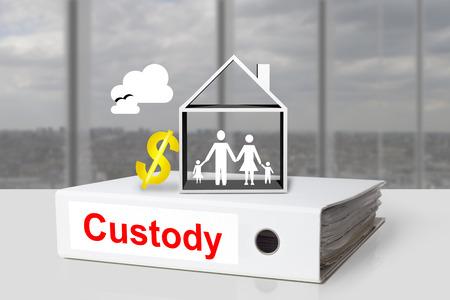 dissolution: white office binder custody family children house dollar symbol