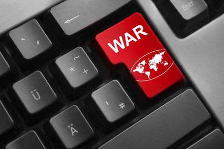 dark grey keyboard red enter button war global world symbol photo
