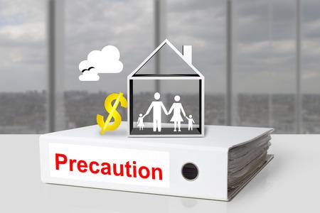 precaution: white office binder precaution family house dollar symbol