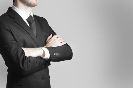 decission: businessman boss in black suit crossed arms work warning