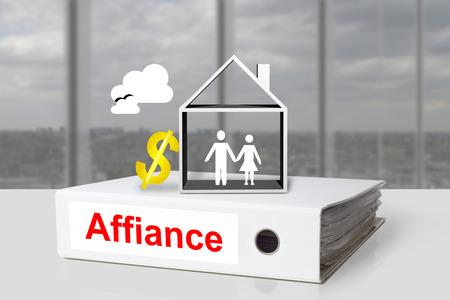 white office binder affiance marriage couple house dollar symbol photo