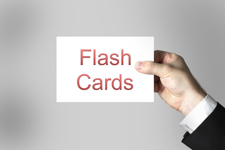 hand holding sign flash cards online learning photo