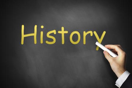 a war historian: hand writing history on black chalkboard school Stock Photo