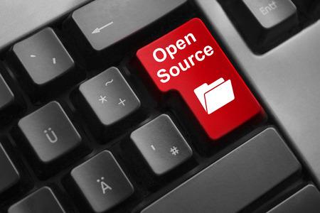 dark grey keyboard red button open source photo