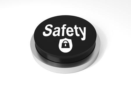 lock symbol: black round button Safety with security lock symbol