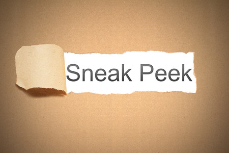 peek: brown packaging paper torn to reveal sneak peek preview