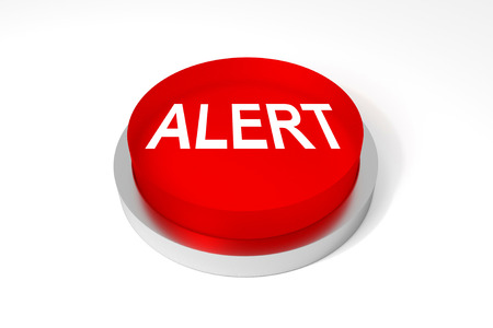 explicit: red round button alert on white surface Stock Photo