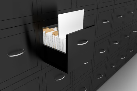 file cabinet: opened black file cabinet white empty documents 3d illustration Stock Photo