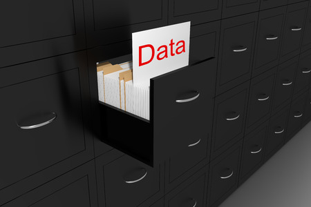 opened black file cabinet white document data 3d illustration