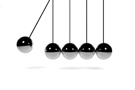 newtons cradle: newtons cradle hanging chrome balls on white 3D render
