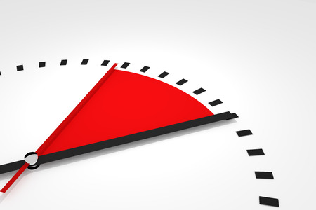 seconds: clock with red seconds hand area time remaining 3d illustration