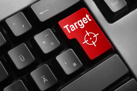cyberwar: dark grey keyboard red enter button target crosshair