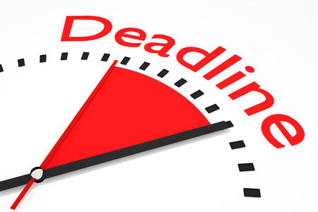 seconds: clock with red seconds hand area deadline 3d illustration Stock Photo