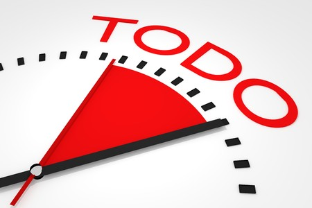 seconds: clock with red seconds hand area todo 3d illustration