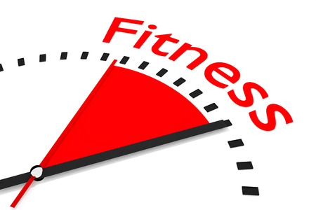 seconds: clock with red seconds hand area fitness 3d illustration