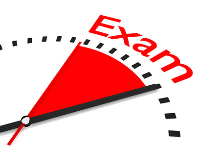 seconds: clock with red seconds hand area exam 3d illustration Stock Photo