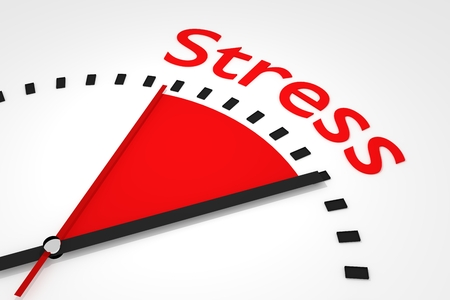 clock with red seconds hand area stress 3d illustration
