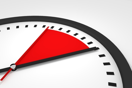 seconds: clock with red seconds hand time 3d illustration Stock Photo