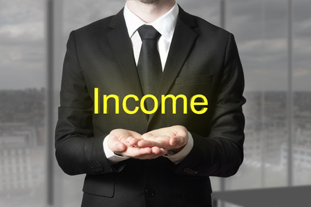 begging: businessman in office room begging gesture more income Stock Photo