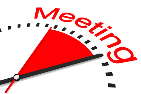 seconds: clock with red seconds hand area meeting 3d illustration