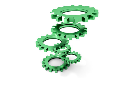 cogwheels: tower of green colored metallic cogwheels hovering illustration