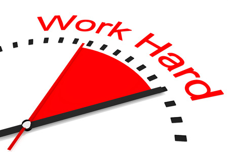 clock with red seconds hand area work hard 3d illustration