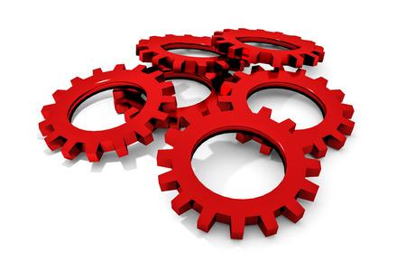 tweak: stack of red colored metallic cogwheels on white surface illustration