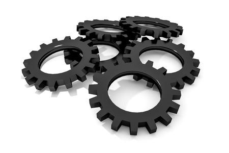 tweak: stack of black colored metallic cogwheels on white surface illustration